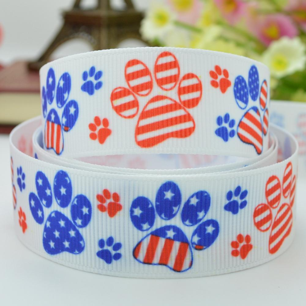 Independence day holiday paw bow handmade 22mm print grosgrain ribbon 7/8 accessories for crafts birthday gift paking
