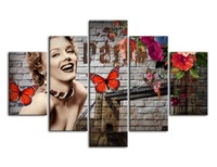 Wall Art Picture Painting Living Room 5 Panel Marilyn Monroe And Butterfly Rose Frame Print Canvas Poster Home Decoration