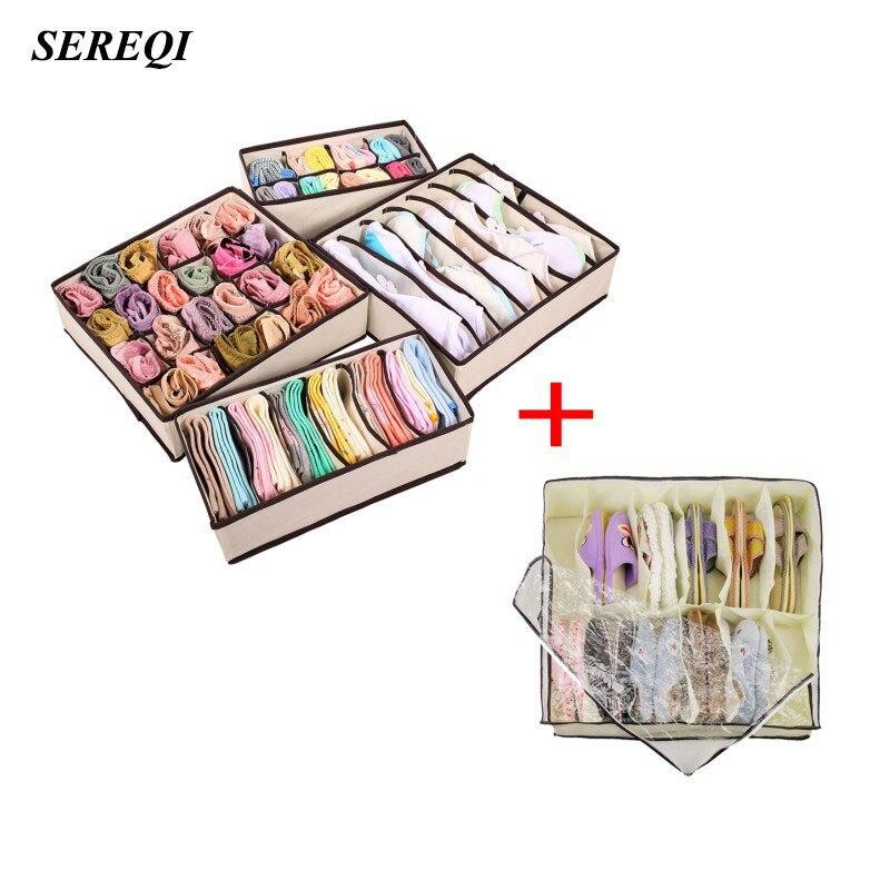 SEREQI 4PCS Foldable Storage Box Underwear Bra Drawer Closet Organiser + 1PCS Home Folding Under Bed 12 Cell Shoes Storage Bins
