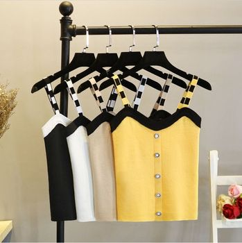 Womens Knitting Short Tanks Buttons Crop Tops Female Bodycon Knitted Cropped Camisole Sleeveless Tshirts Camis for Women