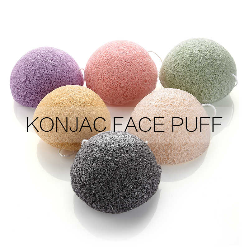 OYAKOM Natural Konjac Konnyaku Puff Cosméticos Esponja Facial Rosto Limpeza Sopro Esponja de Maquiagem Facial Beauty Care Tools 6 Cores