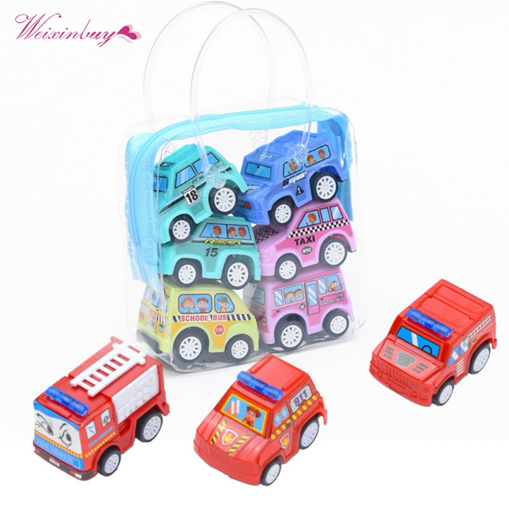 6pcs/set Classic Boy Girl Truck Vehicle Kids Child Toy Mini Small Pull Back Car Toys Plastic Colorful Car Toy High Quality