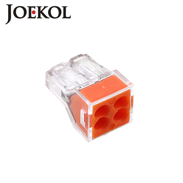 (100pcs/lot) JK-104(wago 773-104) Push wire wiring connector For Junction box 4 pin conductor terminal block