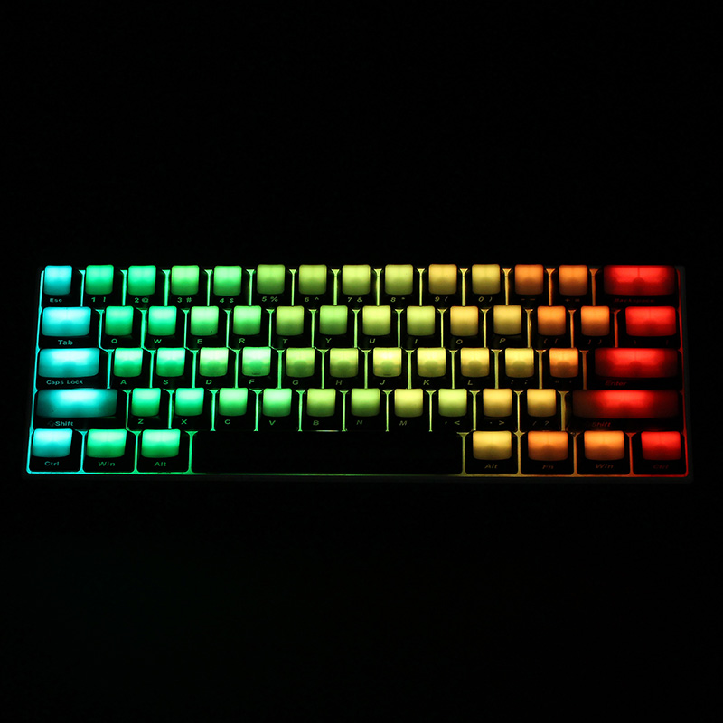 104 Key All-Transparent ABS Side Printed Keycaps Thick Keycas