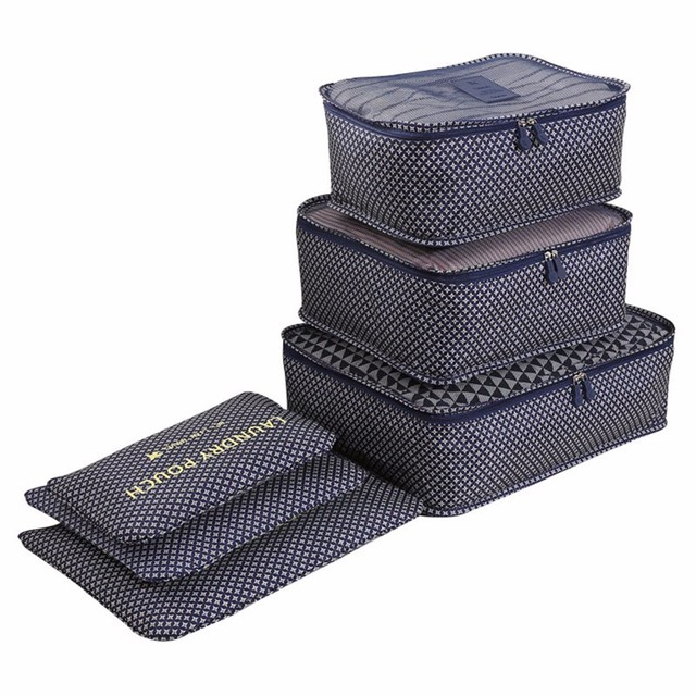 LIYIMENG Waterproof Clothes Organizer Household Portable storage Box Underwear Bra Packing Travel Cloth Storage Bag 6pcs/set