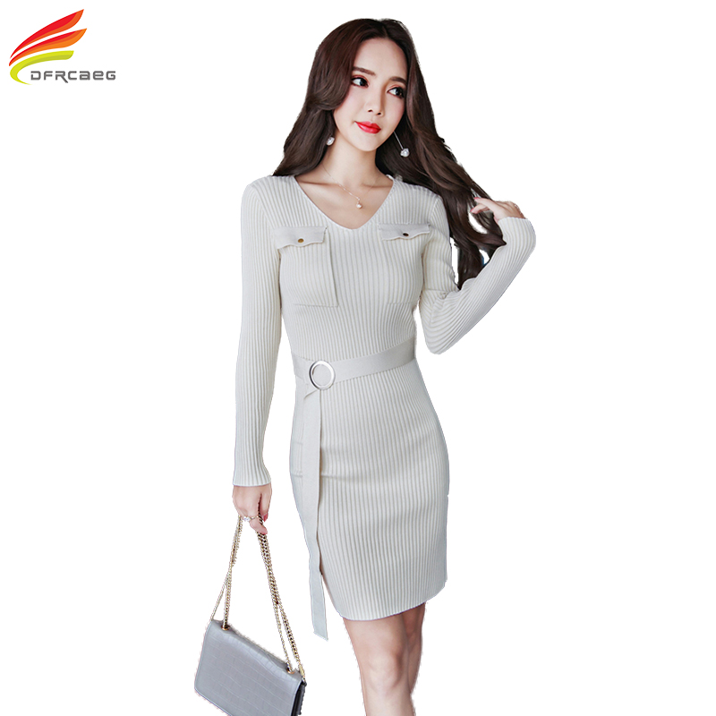 Winter Round Neck Collar Long Sleeve Sweater Dress Women Green White Black Knitted Dresses With Belt Double Pockets Casual Dress plus size double pockets knitted dress