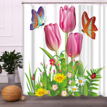 Curtain-Partition Waterproof Bathroom 1800x1800mm Tulip Mildew Fresh Thickening