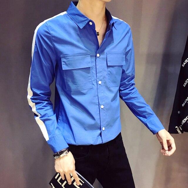 2018 Autumn New Men Shirt Slim Fit Cotton Long Sleeve Casual Shirt Men Side  Stripe Double Pocket Social Shirts Male 69c890aeef71