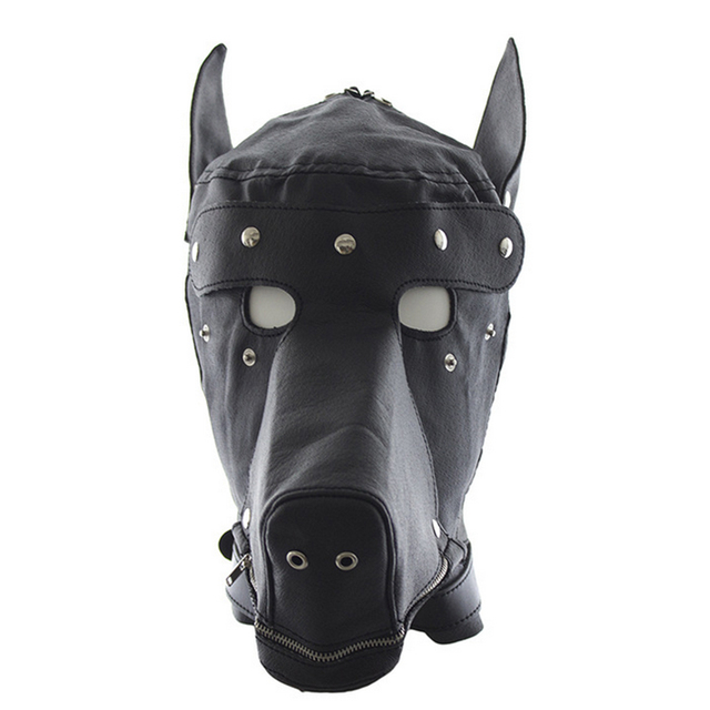 Oomph! Couples Bed Game Sex Restraints Bondage Doghead Shape Headgear Mask with Blinder for Couple Play - Black