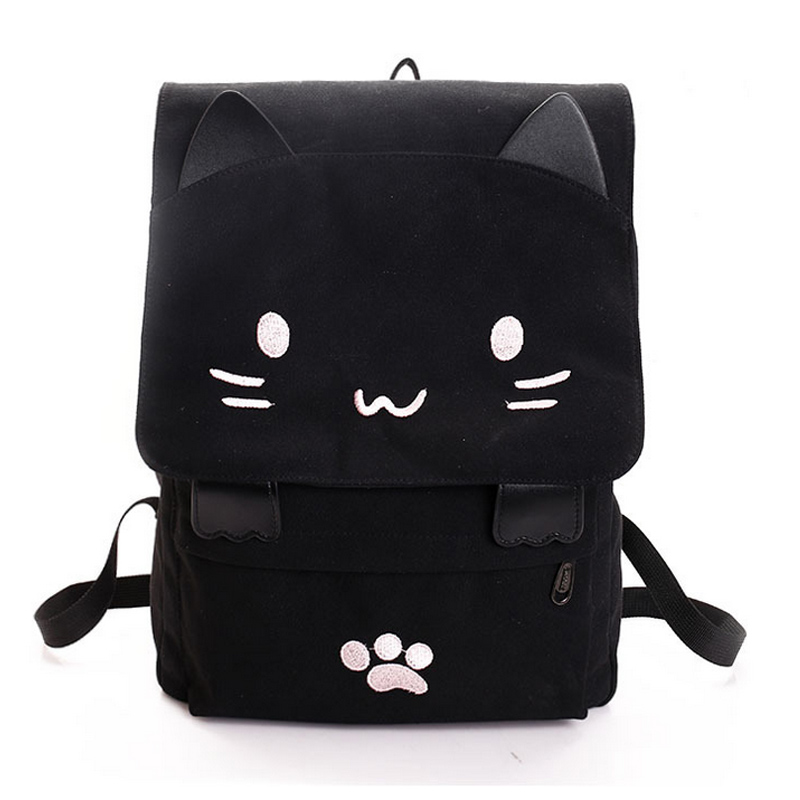 Women Lovely Cat Canvas Backpack Girls School Bag Cartoon Students Shoulder Bag Rucksuck LBY2017