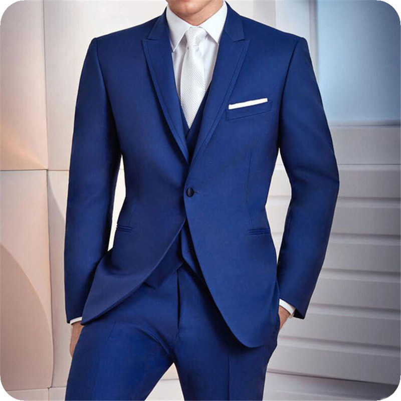 Royal Blue Men Suits Groom Wear Wedding Suits Formal Tuxedo Prom Party Man Blazer Costume Homme Slim Fit Terno Masculino 3Pieces