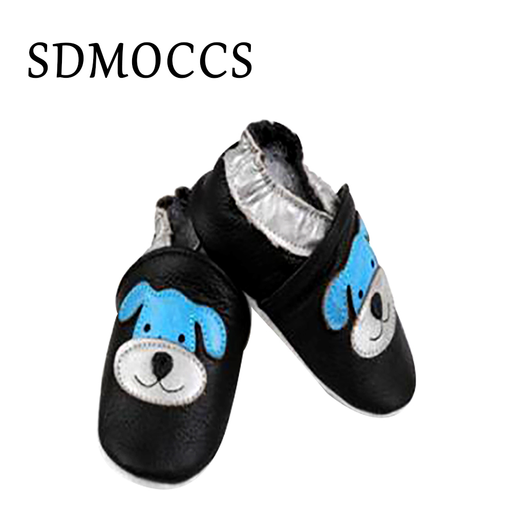 SDMOCCS Brand Dog Printed Baby Leather Shoes Cute Baby Boy Shoes Girl Bow Slip-on Infant Toddler Crib Shoe 0-24M