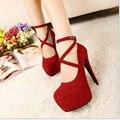 2016 venda quente sapatos de mulher de salto alto sapatos de festa casamentos sapatos 11 cm dedo do pé redondo sapatos de salto alto mulher bombas