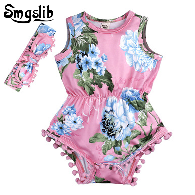 Baby girl onesie floral romper baby Sleeveless Tassel Romper One-pieces With Headband Infant Jumpsuits Sunsuit Outfit Clothes