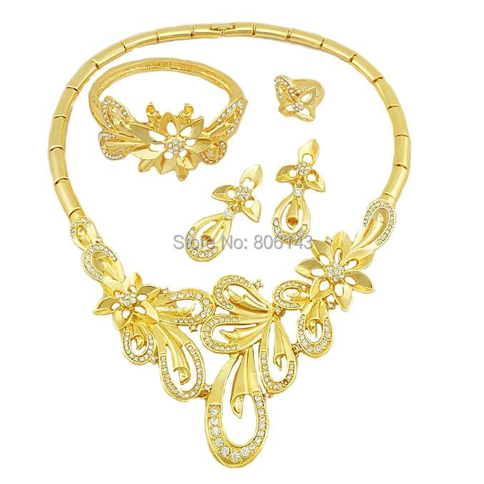 Dubai Emas Perhiasan Set Nigeria Pernikahan wanita aksesoris - Perhiasan fashion - Foto 1