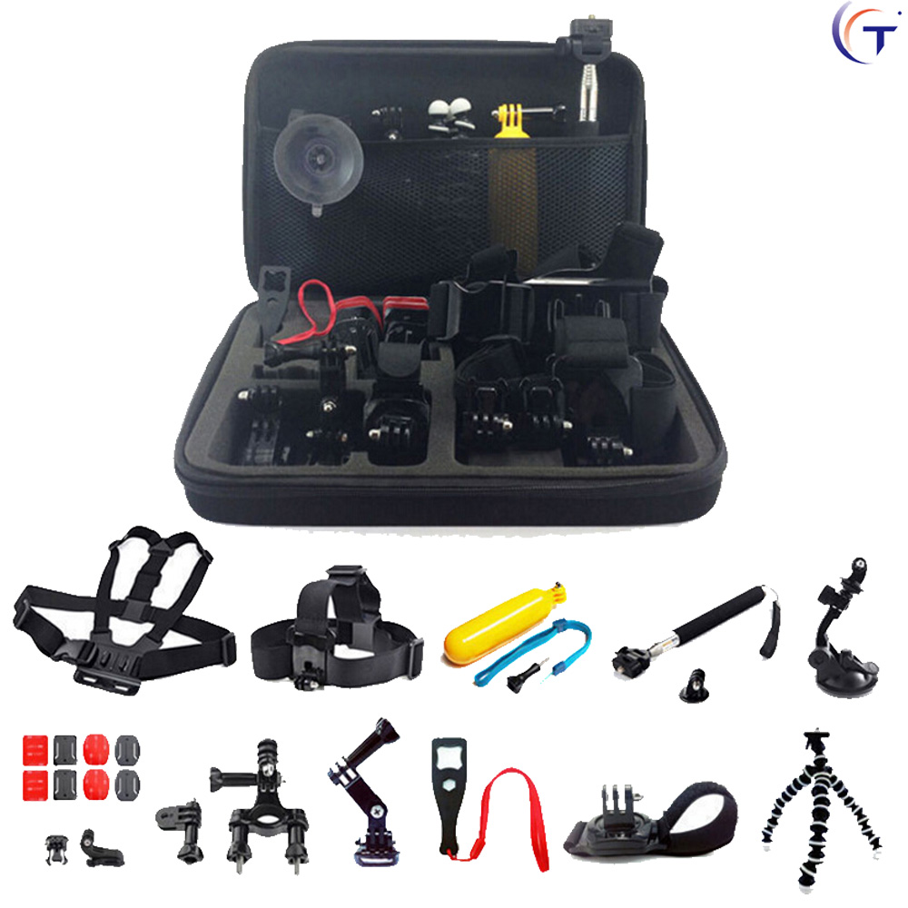 26-in-1 Gopro Accessories Set Helmet Harness Chest Belt Head Mount Strap Monopod For Go pro Hero 5 4 3+2 xiaomi yi action camera