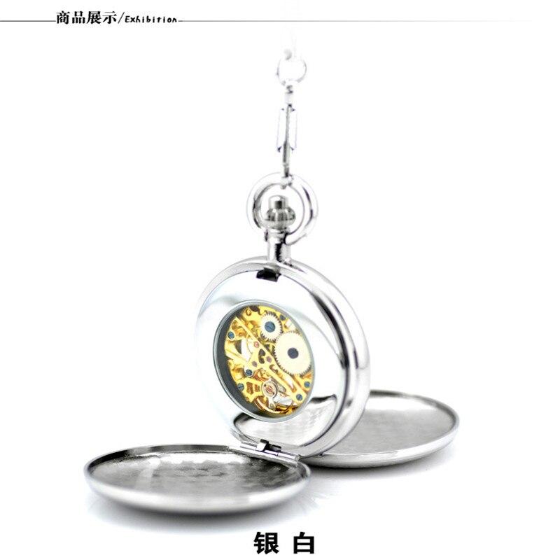 Uhren Luxus Retro Römischen Ziffern Gold Skeleton Mechanische Taschenuhr Mit Fob Kette Männer Frauen Pjx055