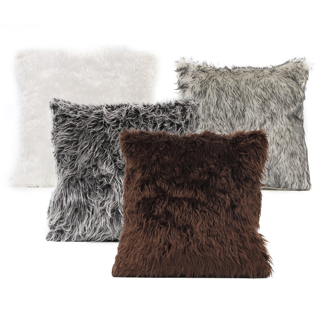 Soft plush rabbit fur cushion cover home decor faux fur - Cojines para sofa blanco piel ...