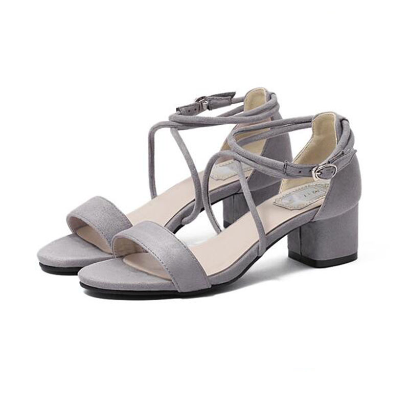 935877a705c4 Wikileaks 2017 New Woman Open Toe Sandals Concise Nude Suede Mid Heels  Sandals Women s Sequined Ankle Strap Summer Dress Shoes -in Women s Sandals  from ...