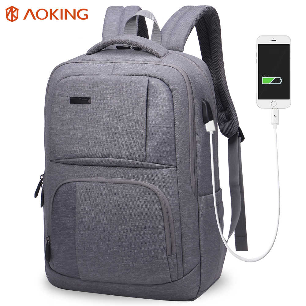 Aoking External USB Charge Nylon Men's Backpack Waterproof Travel Backpack Men Rucksack Mochila Laptop Bag School Backpack