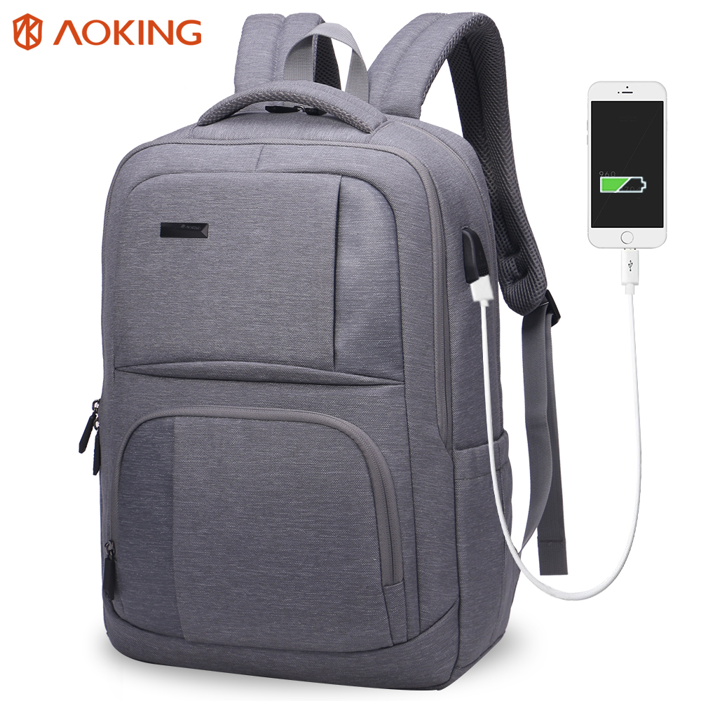 Aoking 2017 External USB Charge Nylon Men Backpack Waterproof Travel Backpack Men Rucksack Mochila Laptop Bag School Backpack lielang men pu leather backpack waterproof large capacity 14 inch laptop bag usb charge camouflage backpack bag mochila rucksack
