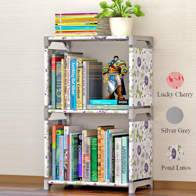 3 Tiers 2 Grids Portable Kids Bookshelf Nonwoven Easy Install Display Shelf Home Decor Creative Modern Small Children Bookcase