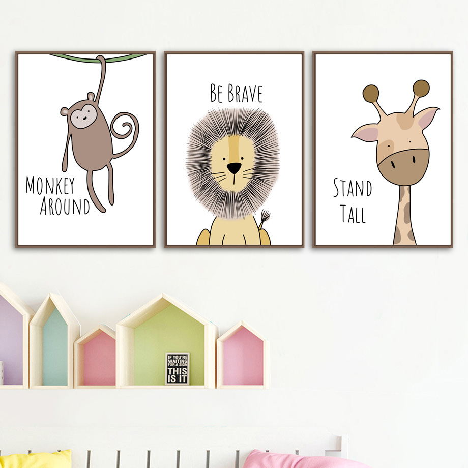 Zebra Hippo Giraffe Lion Crocodile Nursery Wall Art Canvas Painting Nordic Posters And Prints Pictures Baby Kids Room Decor