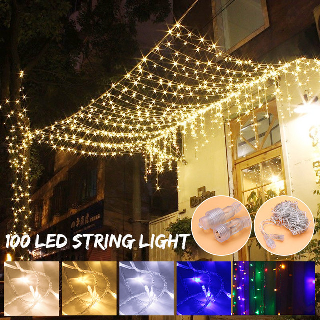 mising 100 led curtain string lights outdoor fairy light string christmas light for wedding halloween home