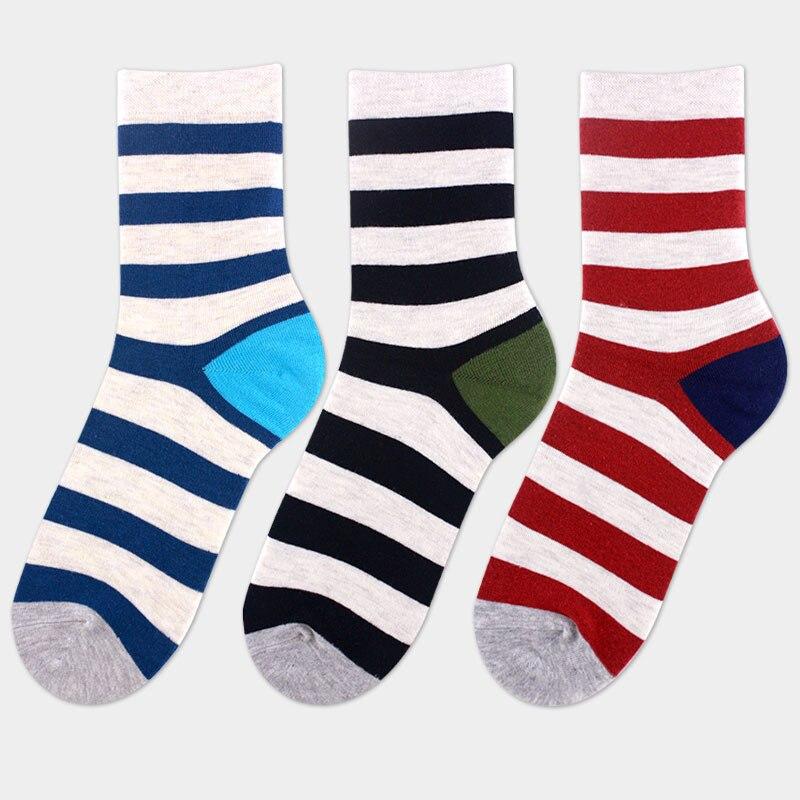 10pcs=5pairs/lot New 2018 Cotton Mens Socks England Style Color Stripe Brand Man Sock For Men Fashion Business Men Socks