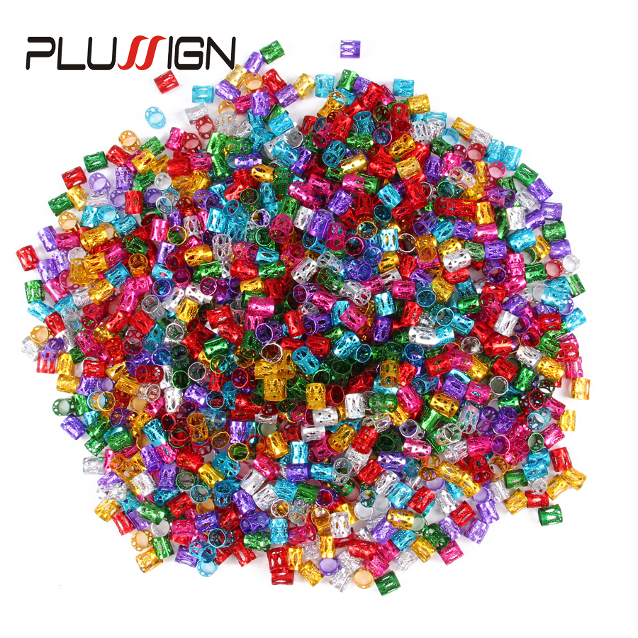 Plussign 50Pcs 100Pcs Available Hair Beads For Dreadlocks Fashion Hair Charms Best Selling Hair Extensions Rings Hair Braid Cuff