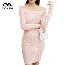 Caya коробка женщина вязаное Платье облегающее карандаш с плеча трикотажное платье подиумные платья 2017 Женская обувь высокого качества розовый серый