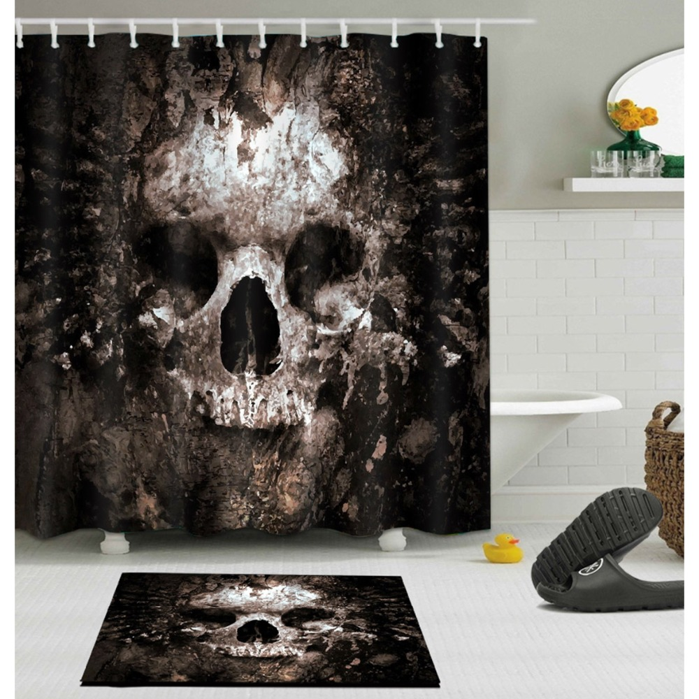 Halloween Printed Bathroom Curtain Set Made Of Polyester Fabric For Bathroom Decorate