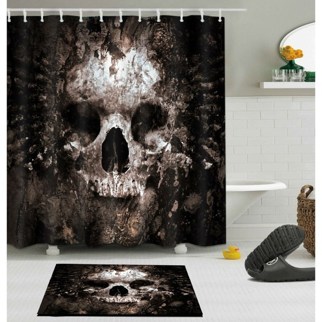 LB Scary Rusty Rotten Skull Halloween Shower Curtain And Bath Mat Set Waterproof Polyester Bathroom Fabric For Bathtub Art Decor
