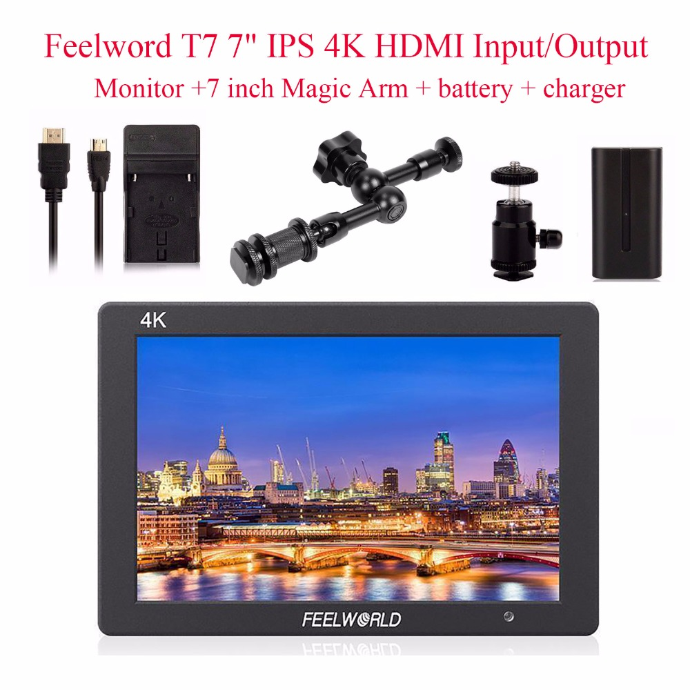 Feelworld T7 4K HDMI Input/Output On-Camera Monitor+7 inch Magic Arm+battery+charger Full HD 7IPS Screen Monitor for Camera