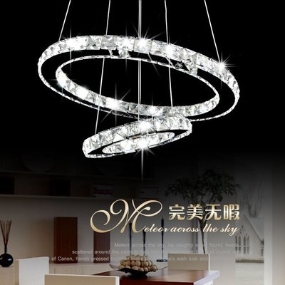 Crystal chandelier modern circle led diamond ring crystal chandelier for dinning room 1 circle/2 circles/3 circles D30-80CM