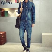 Männer vollständige sleeve denim overalls Beiläufige lange länge jeans Overalls Blue jeans