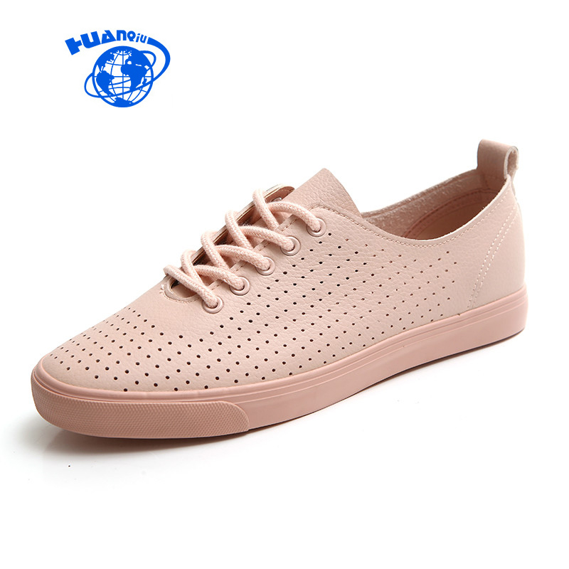 HUANQIU Women Shoes for Summer 2018 Spring Breathable Holes Solid Color Female White Shoes Leather Chaussure Femme Flat Heel 2018 leather shoes women spring summer simple nude color female flats soft sole breathable footwear free shipping