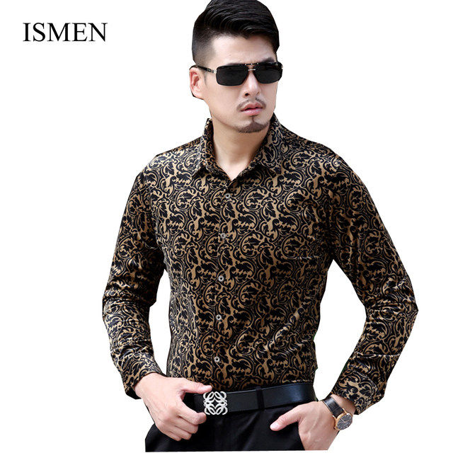 d3a1112d Ismen hombres visten camisas de manga larga de terciopelo Camisa para  hombre negocios nuevos moda de primavera camisas Masculina Camisa Vetement  Homme ...