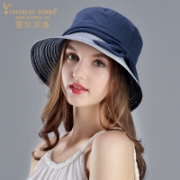 Charles Perra Sun Hats Female Spring Summer New Foldable Women Sunscreen Hat Fashion Elegant Beach Lady
