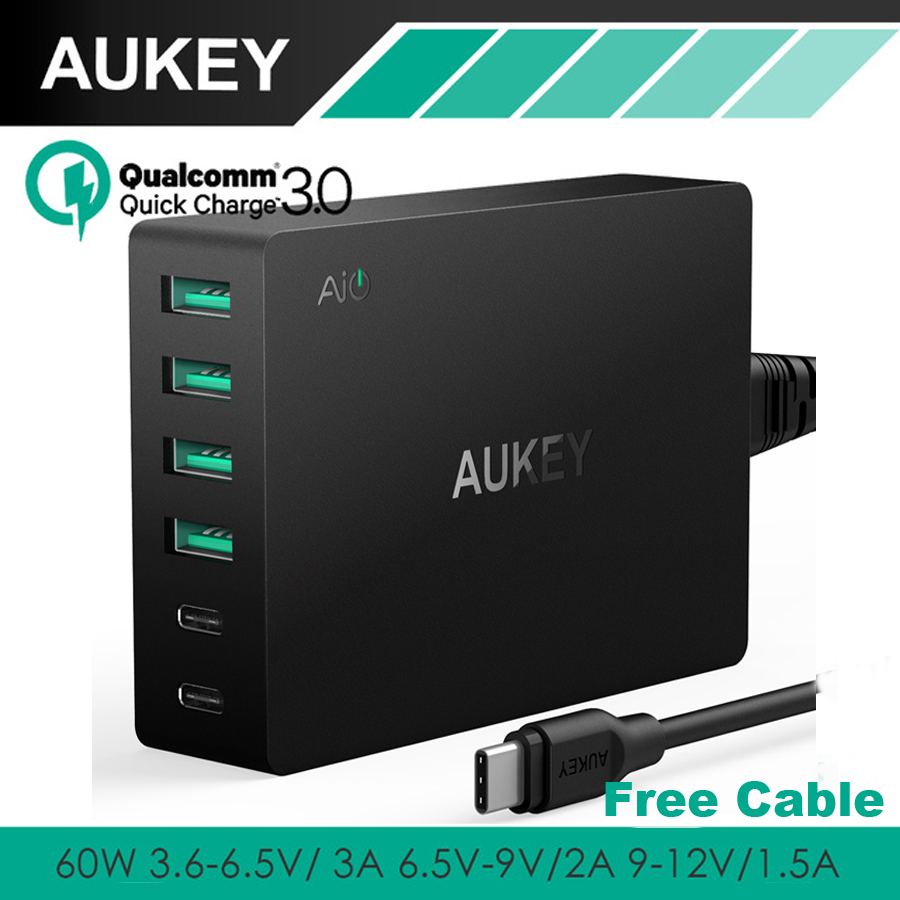 AUKEY 60 W charge rapide 3.0 multi usb Rapide Turbo Chargeur Mural 6 Port téléphone mobile usb De Bureau compatible avec Tous Les Téléphones Qualcomm