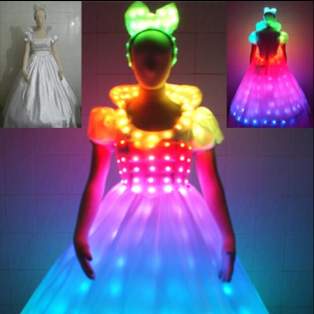 LED Bühne fluoreszierende Kostüme Anzug leuchtende Kleid zeigen - Partyartikel und Dekoration - Foto 4