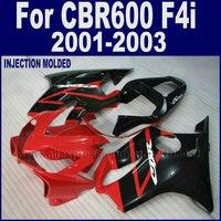 ABS корпусов двигателя road race литья под давлением обтекатели комплект для Honda CBR 600 F4i 2001 2002 2003 CBR 600 F4i 01 02 03 красный черный директоров