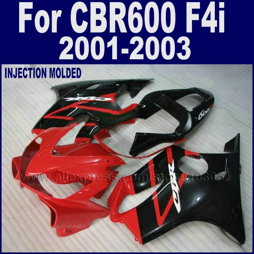 ABS hulls motor road race Injection molding fairings kit for Honda CBR 600 F4i 2001 2002 2003 cbr 600 f4i 01 02 03 red black bod