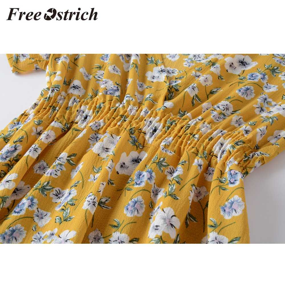 Free Ostrich Hot Sales Women V Neck Holiday Floral Print Dress Ladies Summer Beach Party Dress Pastoral Style Fresh Casual Dress