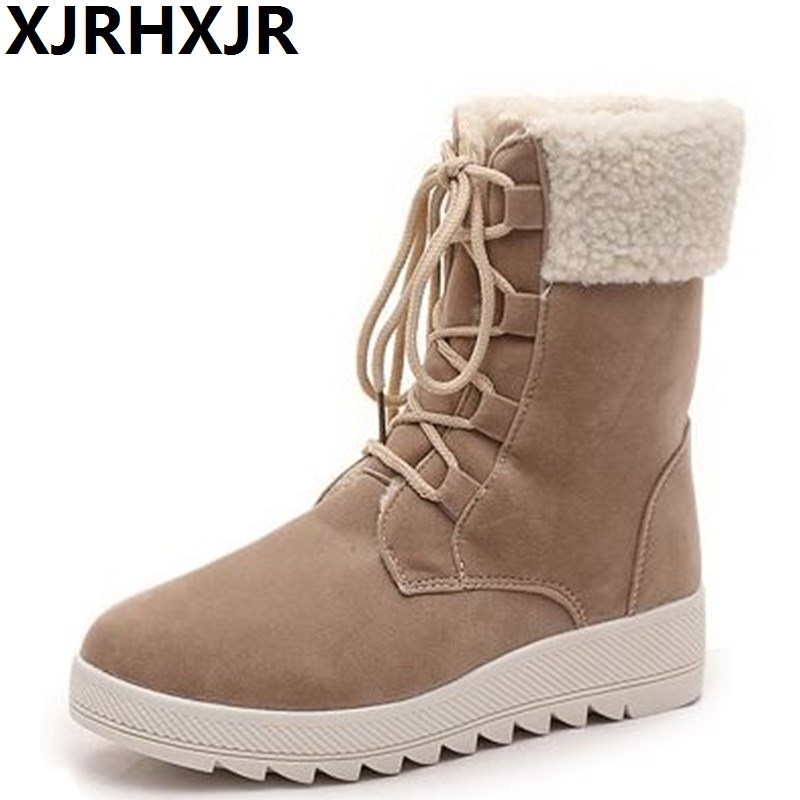 XJRHXJR Flat Lace Up Snow Boots Ladies Autumn Winter Warm Shoes Fashion Platform Round Toe Fur Boots Black Beige Shoes Woman odetina fashion genuine leather ankle boots flat woman round toe platform lace up boots autumn winter casual shoes big size 43