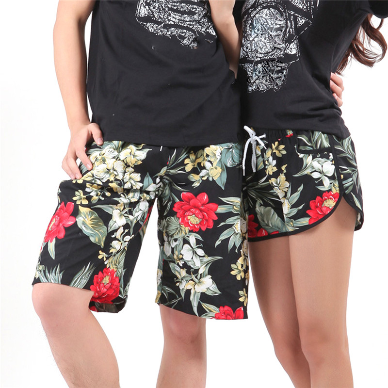 Summer Lovers Beach Shorts Men Women Beach Pants Beach Resort Quick Dry Floral Printed Surf Leisure Swim Pants Plus Size XXL
