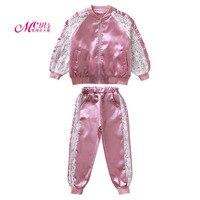 Children Clothing Sets Autumn Winter Girls Sport Suit Lace Long Sleeve Jacket+Pants 2 PCS Set Girls Clothes 4 6 8 10 12 13 Years