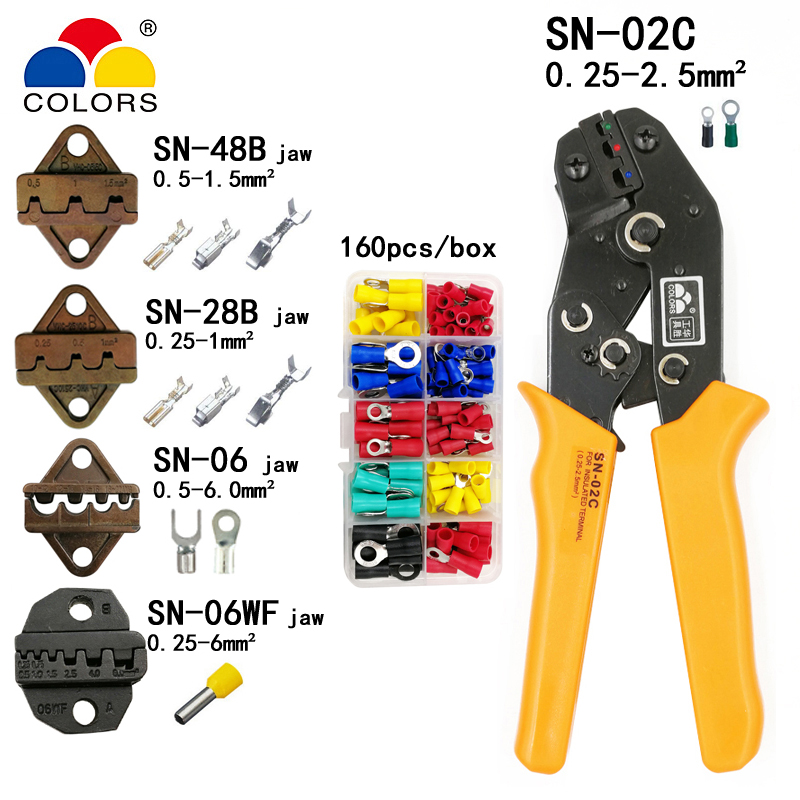 COLORS SN-02C crimping pliers 0.25-2.5mm2 14-24AWG for insulation and non-insulation terminal with SN-48B/28B/06WF/06 4 jaw tool 1pcs vh1 48b mini crimping pliers non insulated tabs and receptables capacity 0 15 1 5mm2