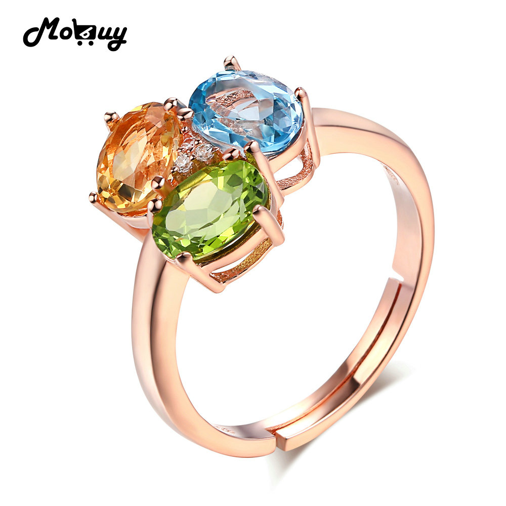 MoBuy MBRI002 Citrine+Topaz+Peridot Adjustable Ring 925 Sterling Silver Rose Gold Plated Natural Gemstone Fine Jewelry For Women