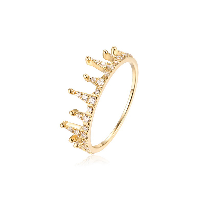 JXXGS Hot Sale Gold Color 3A Zircon Luxury Crown Ring 14k Gold Unique Designs Ring For Women